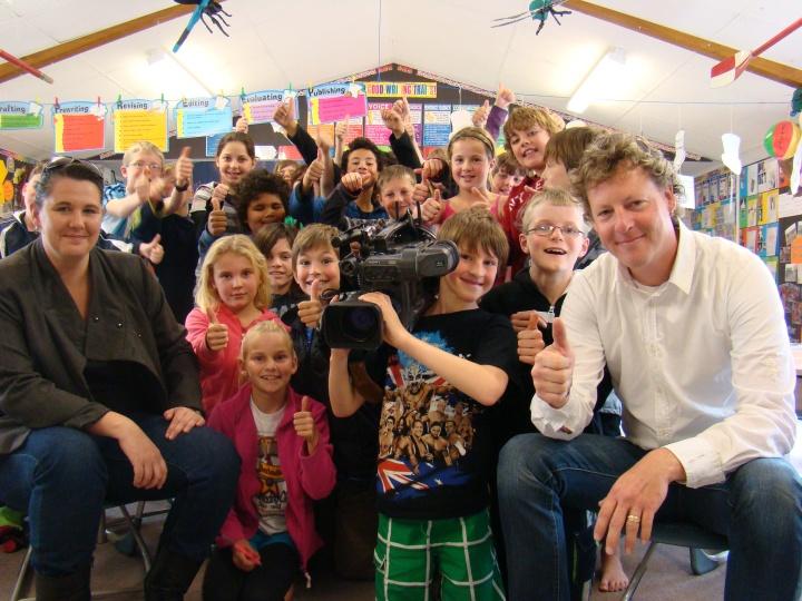 Fair Go crew and Room 1 Karapiro School